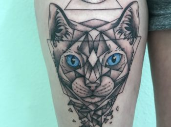 Tattoo Katze Oberschenkel Permanent Art