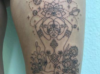 Tattoo Fantasy Oberschenkel Permanent Art