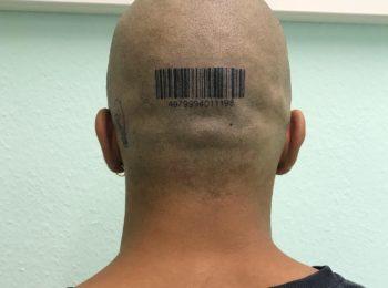 Tattoo Strichcode Kopf Permanent Art