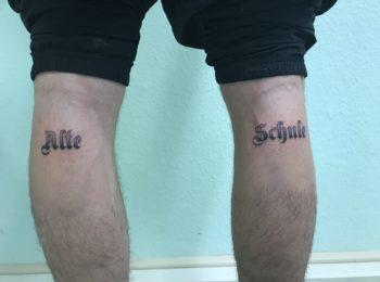 Tattoo Schriftzug Beine Permanent Art